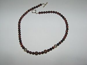 """Sterling silver bead clasp Brown Tiger's Eye round beads necklace 16"""""""