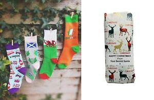 SECRET SANTA Novelty Socks, Christmas, Men & Women Irish Welsh Scots London