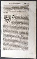 1574 Sebastian Munster Antique Engravings to Text of Parthia Coat of Arms, Iran