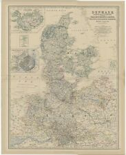 Antique Map of Denmark by Johnston (1882)