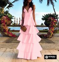 Vestito Lungo Donna Cerimonia a Balze Woman Party Maxi Dress 110400