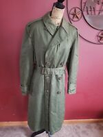 Olive Green Army Winter Coat Jacket Trench Men Med Vintage Miltary overcoat u.s.