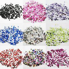 1000 Hearts Rhinestones Acrylic Gems Flat silver back Nail Art Craft Cards 2,5mm