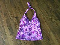 NWOT Lands End Purple Floral Halter Tankini Swim Suit Top Womens BathingSuit - 6