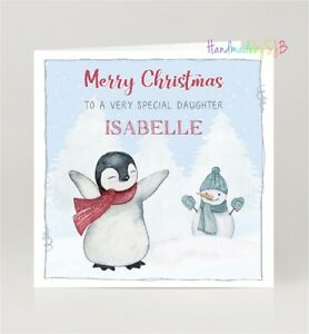 Personalised Penguin Christmas Card Son Daughter Grandson Granddaughter Niece