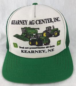 Vintage Kearney John Deere SnapBack Trucker Mesh Hat Cap USA Green Ag Ctr Nebr