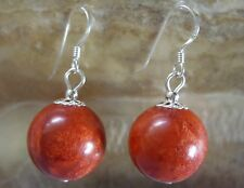 16 mm rote Koralle Kugel Ohrringe Ohrhänger Earrings mit 925 Silber Ohrhaken
