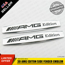 2x Silver 3D AMG Editon Side Fender Skirts Sticker Metal Badge Emblem Decoration