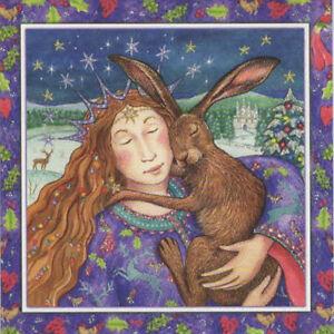 YULE CHRISTMAS GREETING CARD Starry Hare Hug PAGAN GODDESS WENDY ANDREW