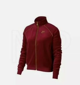 Nike Sportswear Womens Full Zip Embroidered Velour Jacket XL Red AQ7977-618