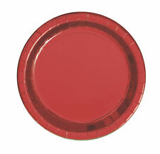 8 x Red Metallic Foil Paper Plates 18cm Shiny Red Dessert Party Plate