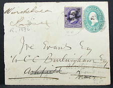 US Postal Stationery Cover N.H. Forwarded to London 1899 GS USA Brief (H-7888