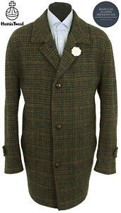 Mens Harris Tweed Coat 46 Dogtooth Windowpane Country Check Hacking Overcoat