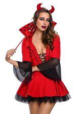 Costume Diavoletta sexy donna Carnevale  Halloween + forcone + corna