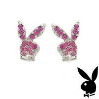 Playboy Earrings Bunny Logo Studs Pink Swarovski Crystals Platinum Plated RARE