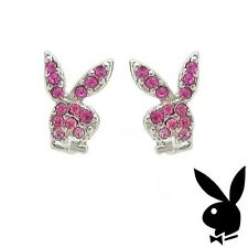GRADUATION GIFT Playboy Earrings Bunny Studs Pink Crystals Platinum Plated RARE