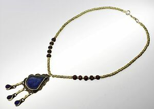 Lapislazuli-Nomaden-Halskette, Tribal Halskette, Afghanische Kuchi Tribalkette