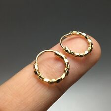 Tiny Earrings Hoop Round Small Mini Cute 10mm Gold Tone Huggie Girl Kid Men