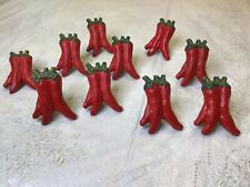 Rare Vintage Red Chili Pepper Veggie South Western Drawer Handles Pulls