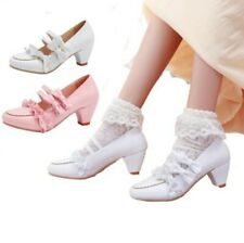 Sweet Ladies Grils Princess Bowknot Ankle Strap Mary Janes Kitten Heel Shoes D