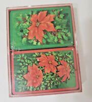 "Vintage Hallmark ""Poinsettia"" Bridge Playing Cards 2 Decks in Case Christmas EUC"