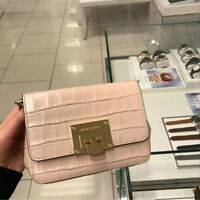 NWT Michael Kors Tina MK Embossed Leather Crossbody Bag Ballet Pink Small $268
