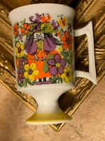 VINTAGE ARNART KATHY K ROYAL CROWN RAGGEDY ANN MUG CUP FOOTED YELLOW PURPLE 3048