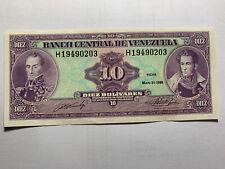 Venezuela 10 Bolivares May 1990 Prefix/series H AU  Banknote