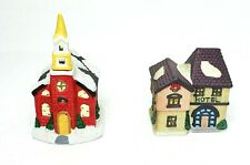 Porcelain Gift Collection Christmas Village Candle Holders Church & Hotel