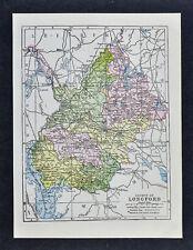 1900 Ireland Map - Longford County - Edgeworthstown Ballymahon Cloondara Forbes