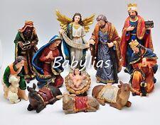 Large Nativity Set Scene Figures Polyresin Figurines Baby Jesus 11 PIECE SET