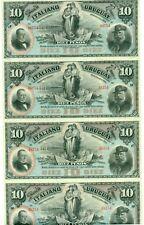 Uruguay Bank Italiano Del Uruguay 10 Peso Uncut Sheet of 4 Remainders 1887 UNC
