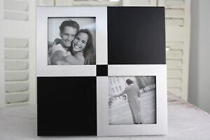 Fotorahmen/ Bilderrahmen 2x 9x9cm Holzrahmen Schwarz/ Silber stehend