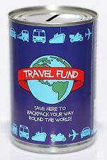 Travel Fund Savings Tin | Money Box Saver - STANDARD Holds upto £260