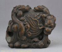 4 « rare vieux chinois feng shui animal tortue dragon bronze folk richesse statu