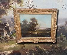 Rhine Romantic Sommerlandschaft. Antique Ölgemälde. Frame Plaque J.E.Schindler