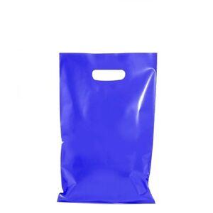 100 x BLUE PLASTIC GIFT CARRY BAGS DIE CUT HANDLE - SMALL MEDIUM - 250 x 380mm