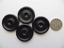 1940s Vintage Big Unisex Black Matt Carved Circles Coat Jacket Cape Buttons-33mm