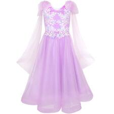 Flower Girls Dress Purple Sleeveless Mantillas Wedding Bridesmaid Size 7-14