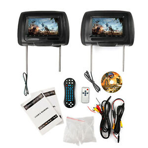 "2x7"" HD Car Digital Headrest Monitor USB TV IR SD Video HDMI Game DVD Player"