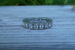 ANTIQUE FRENCH 18K GOLD DIAMOND ETERNITY WEDDING BAND RING 1.3CT