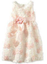 C'est Chouette Couture Girl's Pageant Floral Holiday Dress New, Ivory Peach, 2T
