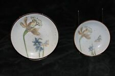 Fitz and Floyd Mcmlxxv Daffodil and Butterfly brown rimmed plates (2)