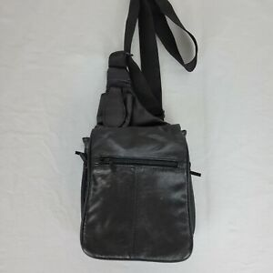 Vintage Mens  Faux Leather Sling Back Crossbody Backpack Shoulder Bag Travel