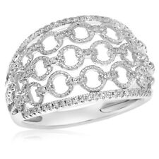 14K White Gold Pave Chain Links Of Love Right Hand Cocktail Right Hand Ring