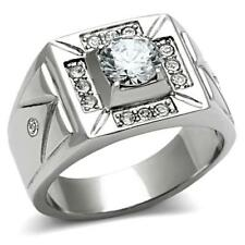 Free Engraving! Of Your Choice! Men's 1.85ct Stainless Steel Cubic Zirconia Ring