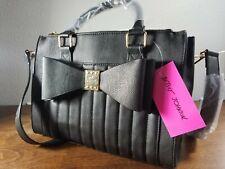 Betsey Johnson Purse Bow Satchel ~ - Color Black Faux Leather Shoulder Bag