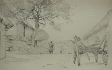 Edvard Petersen, drawing. Village with children and an old cart. Dated 1891