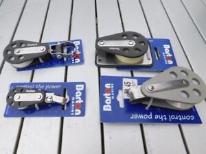 4 New Barton Shackle & Blocks sizes 1 & 3, 4 Cheek, 63mm Ali single