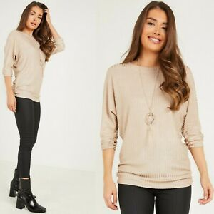 Ladies Womens Gold Ribbed Batwing Sleeve Necklace Top Jumper Pullover 12-18